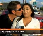 Man charged with harassment after kissing US reporter on air against her will