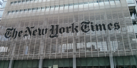 Blank space replaces New York Times article criticizing Pakistan Army