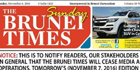 Brunei shuts down newspaper