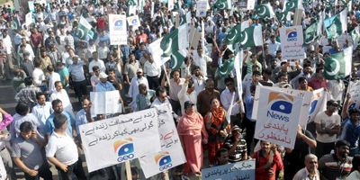 Karachi journalists protest Geo ban