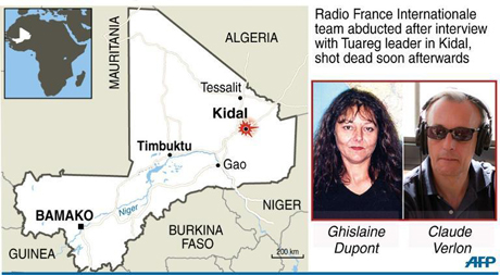 Two French journalists shot dead in Mali