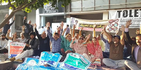 Journalists protest in front of Express Group offices