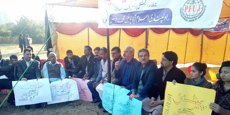 RIUJ protest demanding repeal of Section 5 of PEMRA Act continues