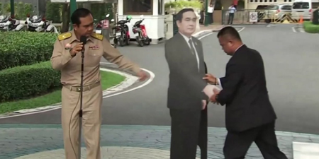Thai PM uses cardboard cutout to avoid journalists' questions