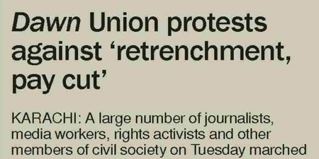 Dawn runs a story on workers' protest against it